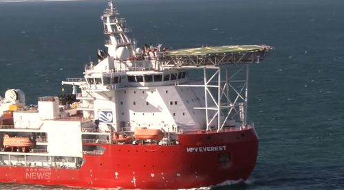 MPV Everest arrives back in Australian waters docking at Fremantle after an engine fire last week.