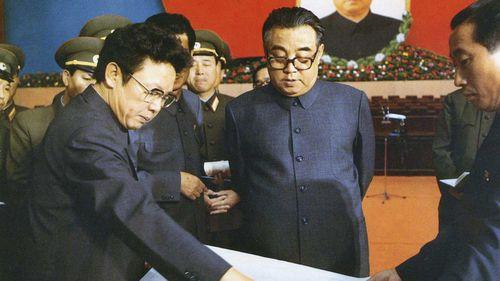 Kim Jong-il and his father Kim Il-sung in 1980. (AP)