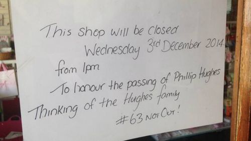 Some shops posted messages of support to the Hughes family. (9NEWS)