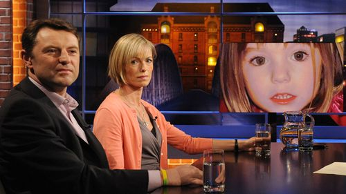 "Gerry (L) and Kate McCann, whose daughter Madeleine went missing from her family's holiday flat in the Algarve shortly before her fourth birthday in 2007, attend the recording of the ""Beckmann"" TV show where they presented their book 'Madeleine' on September 15, 2011 in Hamburg, Germany."