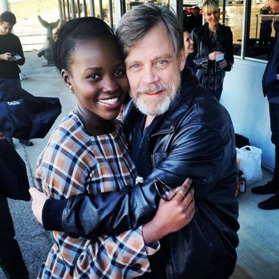 Lupita Nyong'o met her Star Wars: The Force Awakens co-star Mark Hamill...wouldn't let him go