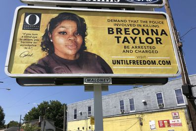 A billboard sponsored by O, The Oprah Magazine, is on display with with a photo of Breonna Taylor, in Louisville, Kentucky. Twenty-six billboards are going up across Louisville, demanding that the police officers involved in Taylor's death be arrested and charged. Taylor was shot multiple times March 13 when police officers burst into her Louisville apartment using a no-knock warrant during a narcotics investigation. No drugs were found.