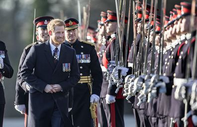 Prince Harry inspects the cadets during the Sovereign's Parade at The Royal Military Academy Sandhurst.