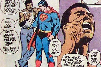 ...meets Superman (and challenges him to a fight!)