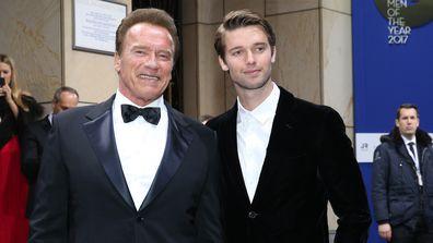 Arnold Schwarzenegger and his son Patrick Schwarzenegger during the GQ Men of the year Award 2017.