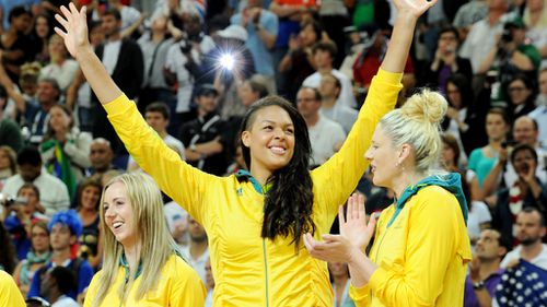 Lauren Jackson and other team members at the 2012 London Olympics. (AAP)
