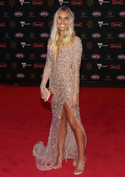<p>Hannah Davis, partner of Hawthorn's Tom Mitchell at the 2018 Brownlow Medal, September, 2018 </p>