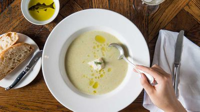 """Recipe: <a href=""""http://kitchen.nine.com.au/2017/06/27/16/02/the-fishhouse-famous-lemony-fish-soup"""" target=""""_top"""">The FishHouse famous lemony fish soup</a><br /> <br /> More: <a href=""""http://kitchen.nine.com.au/2016/09/13/13/30/freezer-friendly-soup-recipes-to-cook-now-and-later"""" target=""""_top"""">freezer-friendly soups</a>"""