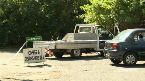 The 38-year-old alleged attacker was known to them and his ute was seized by police at a popular cafe. Picture: 9NEWS.