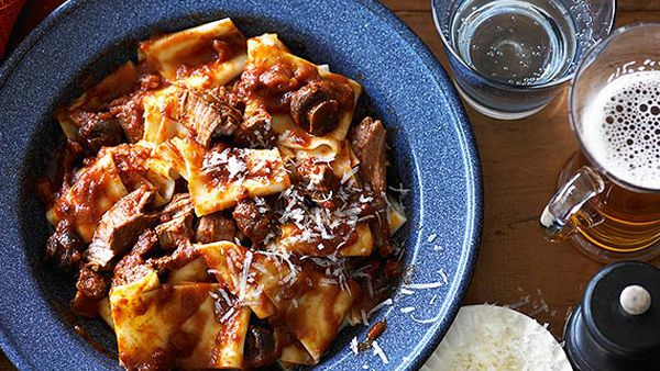 Pappardelle with Mediterranean lamb stew