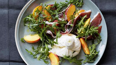 "Recipe: <a href=""http://kitchen.nine.com.au/2016/05/16/18/19/peaches-with-burrata-prosciutto-crudo-and-rocket"" target=""_top"">Peaches with burrata, prosciutto crudo and rocket</a>"