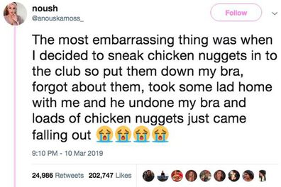 Woman stashes chicken nuggets in bra then forgets them