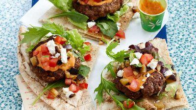 """Recipe: <a href=""""http://kitchen.nine.com.au/2016/05/16/10/59/harissa-lamb-open-burger"""" target=""""_top"""">Harissa lamb open burger</a>"""