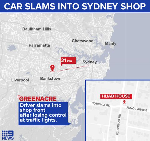 Greenacre car crashes into shopfront.