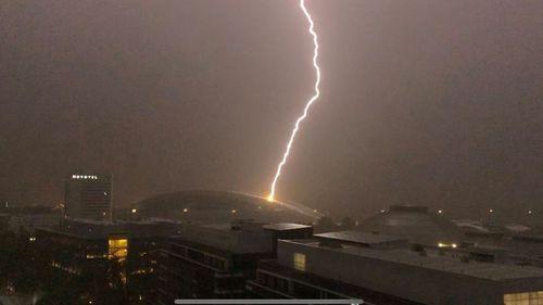 Lightning hits ANZ Stadium at Olympic Park. (Twitter / ANZ Stadium)