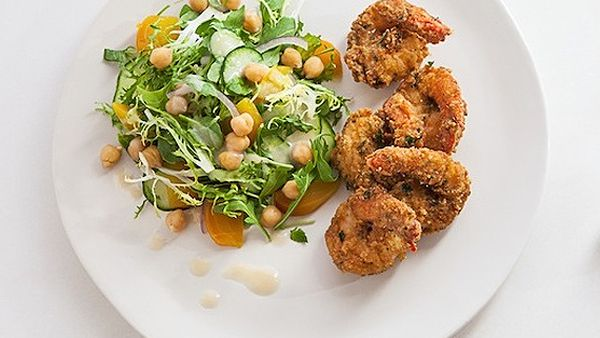 Zigi's falafel-coated prawns