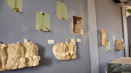 Destroyed funerary monuments in the National Museum. (AAP)