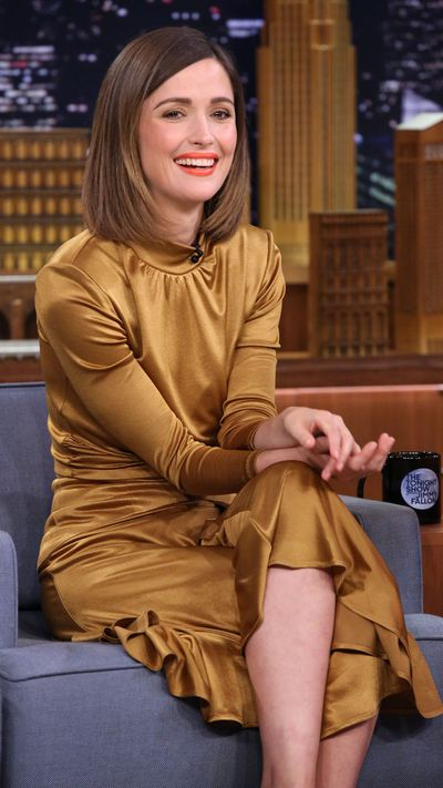 <p>Byrne graced The Tonight Show with Jimmy Fallon in a long-sleeved bronze gown. </p>