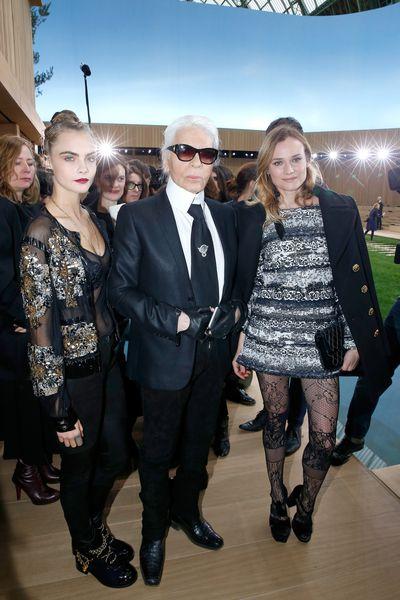 Diane Kruger, Karl Lagerfeld and Cara Delevingne