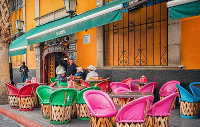 Mexico City colourful cafe