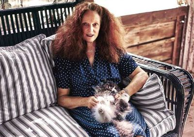 Grace Coddington photographed by Fabien Baron with one of her brood