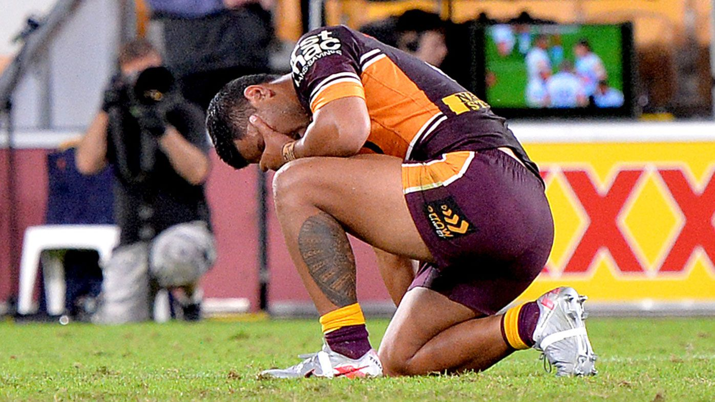 Anthony Milford cuts a dejected figure during Brisbane's loss to Gold Coast.