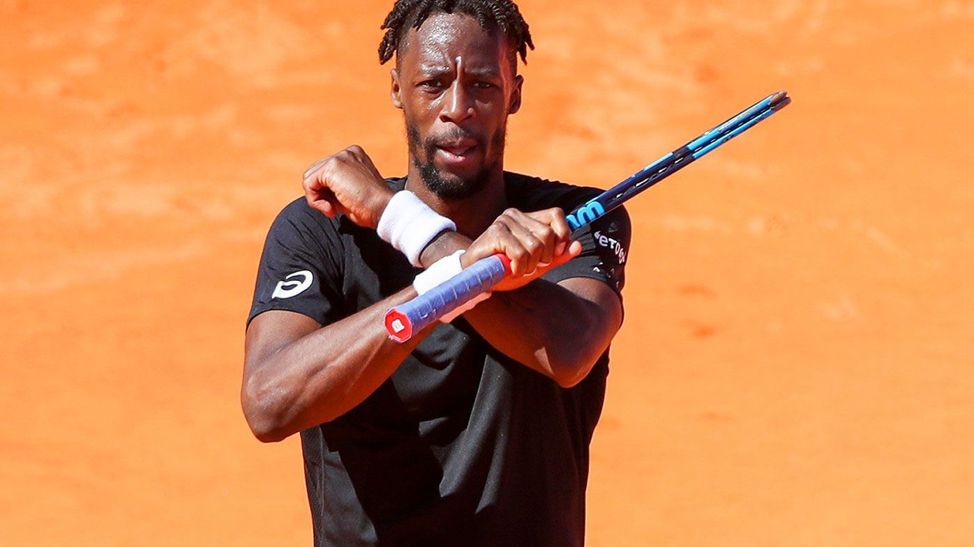 Gael Monfils reacts during his match against Reilly Opelka at the Estoril Open.
