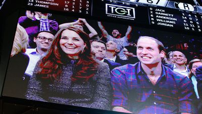 Kate and William waved hello but didn't take part in the Kiss Cam. (AAP)
