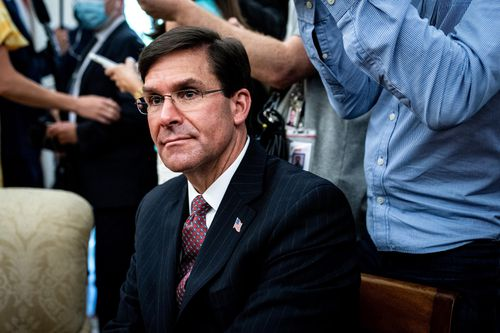US Secretary of Defence Mark Esper attends a meeting in the Oval Office of the White House