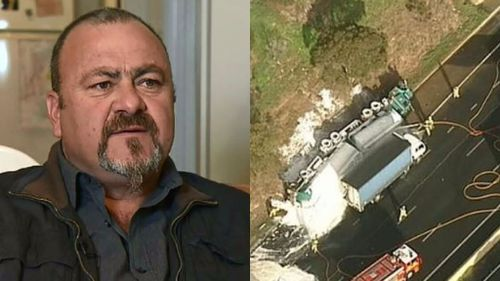 Renzo Bruschi (left) said he did what anyone would do after saving two lives in the petrol tanker accident on Tuesday. (9NEWS)