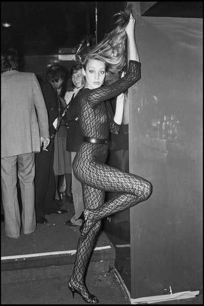 Jerry Hall parties in Paris, 1976.