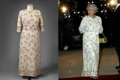 This John Anderson silk evening gown is embroidered with beads and sequins in white, pink, gold and cream. It was worn by Queen Elizabeth II to the Commonwealth Heads of Government reception held at the Palace of Holyroodhouse in 1997.