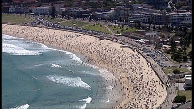 Hundreds of people flocked to Bondi in the hours before New Year's Eve celebrations. (9NEWS)