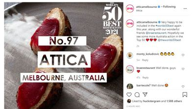 Attica announce as 97 on World's Best Restaurants list 2021