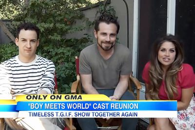 The cast came together again for the show's 20-year reunion on <i>Good Morning America</i> in October 2013. A spin-off called <i>Girl Meets World</i> will launch on the Disney Channel in 2014. Ben Savage and Danielle Fishel will reprise their roles as Cory and Topanga, now married with two children.<br/><br/>Pictured: Ben Savage, Rider Strong, Danielle Fishel.<br/><br/>Image: ABC