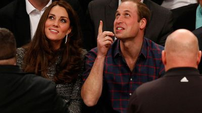 The royals were a little embarrassed when they were put up on the big screen at their first NBA game at the Barclay's Centre. (AAP)