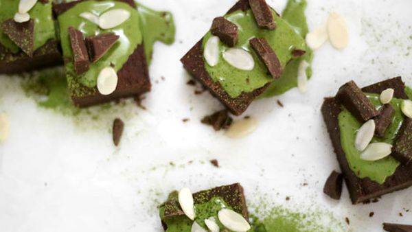 Vegan fudgy chocolate black bean brownies with coconut matcha ganache