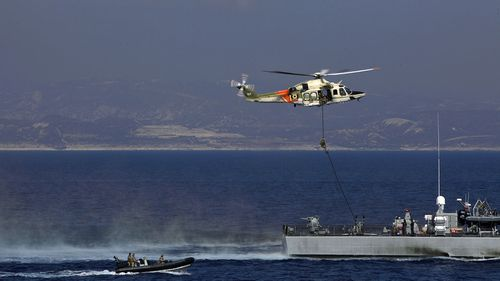 Joint naval drill between the UK, Cyprus and France off Limassol, Cyprus on Tuesday, October 27, 2020