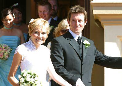 Rove McManus, Belinda Emmett, wedding day, church