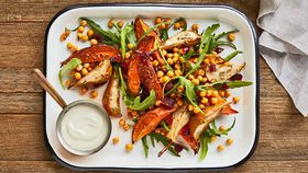 Sweet potato and pear salad with chick peas