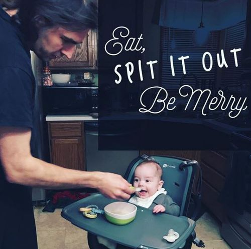 Mr Pladl is seen feeding a baby in a high chair on Ms Pladl's Instagram account.