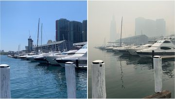 Pyrmont Bay is shrouded in hazardous smoke like much of Sydney today.