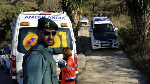 Emergency services look for a 2 year old boy who fell into a well, in a mountainous area near the town of Totalan in Malaga, Spain.