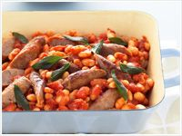 Sausages with Tuscan beans