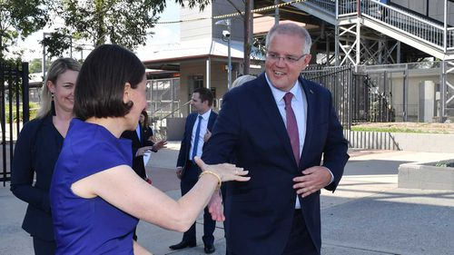 Gladys Berejiklian and Scott Morrison the campaign hustings in Sydney's west.