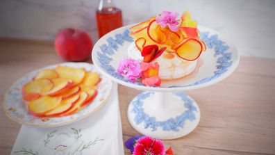 Peach and vanilla syrup with rosewater goes perfectly on a peachy pav