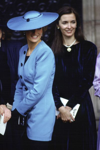 Princess Diana and Catherine Walker attending the wedding of friend Camilla Dunne, 1988