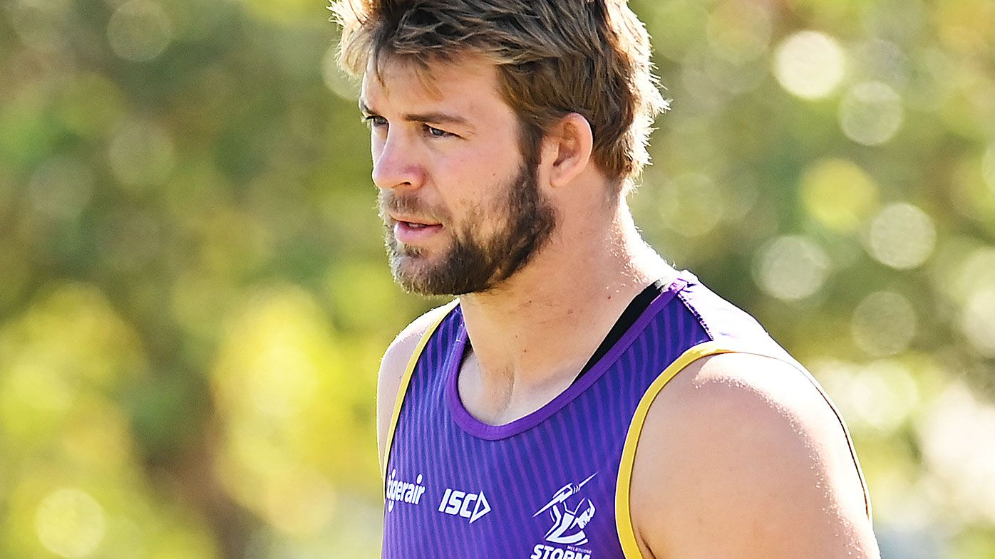 Christian Welch is seen during a Melbourne Storm NRL training session at Sunshine Coast Stadium
