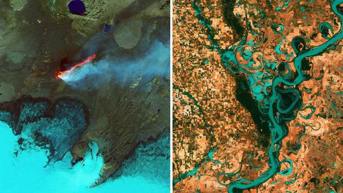 The space agency shared these two Landsat images on Instagram. On the left is the Holuhraun volcanic eruption in Iceland. The right shows the Mississippi River - North America's largest river system.