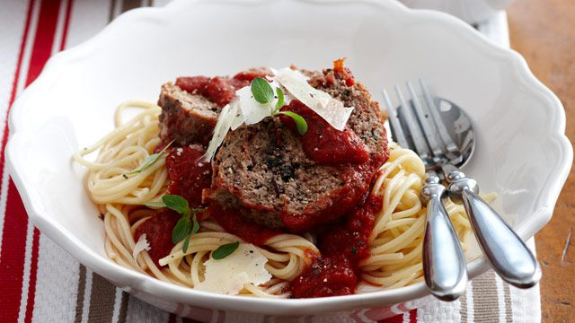 Meatloaf with spaghetti